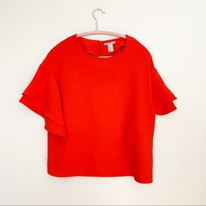 H&M Orange Layered Ruffle Sleeve Blouse size 4